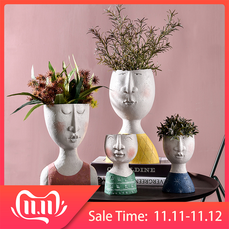 Art Portrait Flower Pot Vase Sculpture Resin Human Face Family Flower Pot Handmade Garden Storage Flower Arrangement Home Decors