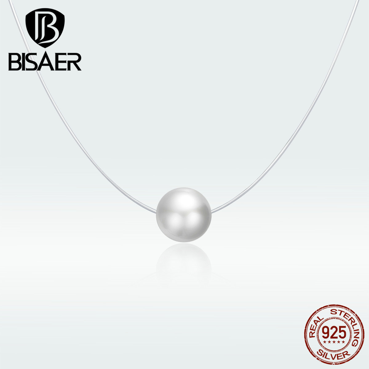 BISAER Shell Pearl Chain Pendant Necklace For Women Party Weeding Gift Fashion Jewelry Bijoux GXN372