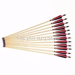 Image 2 - 6/12/24 pcs חדש אדום ולבן נוצת חץ עץ Longbow חיצוני ציד