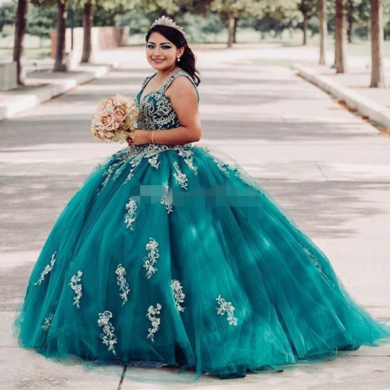 Hunter Green Ball Gown Quinceanera Dresses Gold Lace Applique Beaded 2020 Sweet 16 Straps Princess Party Formal Wear
