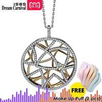 DreamCarnival 1989 Muti Triangles Round Pendant Necklace for Women 2 Tones Gold Color Collana Zirconia Wedding Jewelry WP6432