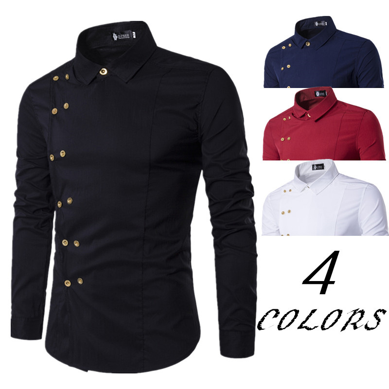 2018 Hot Sales New Style MEN'S Wear Luxury Gold Color Double Breasted Fashion Autumn Slim Fit Long-sleeved Shirt