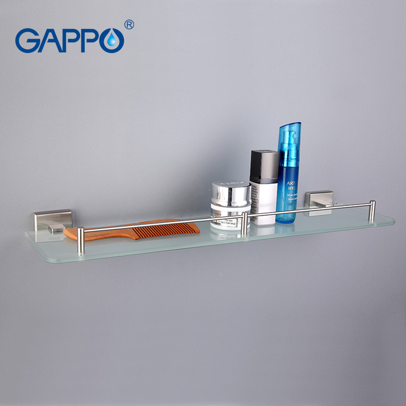 GAPPO Top Quality Wall Mounted Bathroom Shelves Bathroom Glass Shelf Restroom Shelf Hardware Accessories Bathroom In Two Hooks