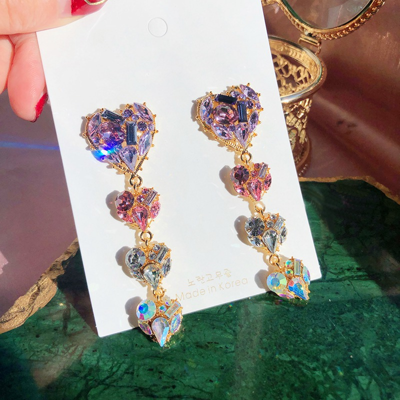 MENGJIQIAO Korean New Shiny Sweet Purple Pink Crystal Love Heart Long Drop Earrings For Women Fashion Holiday Party Jewelry
