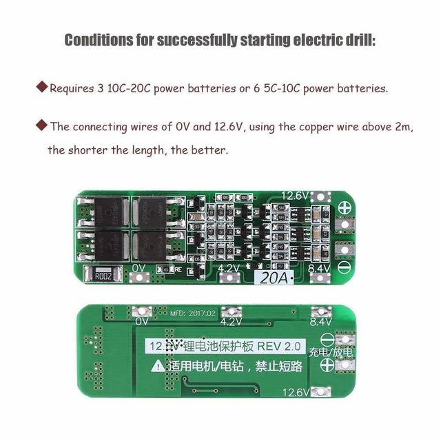 Aokin 3S 20A 12.6V Li-ion Lithium Battery 18650 Charger Protection Board PCB BMS Cell Charging Protecting Module Accessories 2