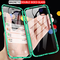 Магнитный металлический чехол для iPhone 12 11 Pro XS Max X XR 360, двухсторонний стеклянный чехол для iPhone 7 8 6s Plus SE 2020