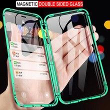 360 caixa de metal de adsorção magnética para iphone 12 11 pro xs max x xr caso de vidro de dupla face para iphone 7 8 6s plus se 2020 capa
