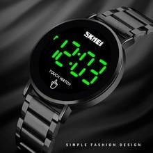 Digital Watch Men Creative Geometric Round Stainless Steel M