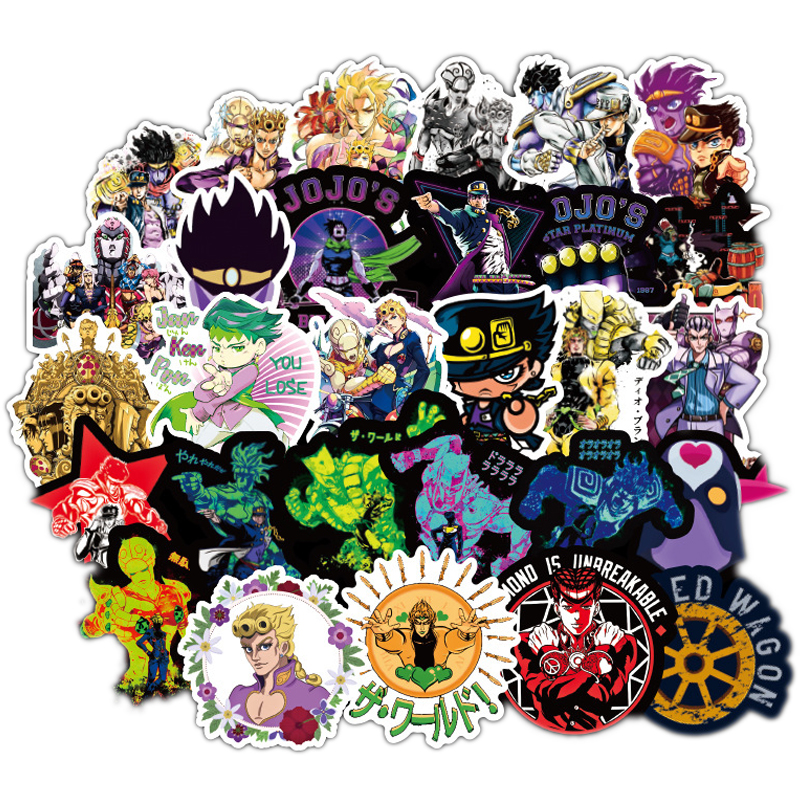 50pcs JoJos Bizzare Adventure Pvc Waterproof Sticker For Luggage Wall Car Laptop Bicycle Motorcycle Notebook Toys Stickers F4
