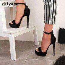 Eilyken Platform high heels Sandals Women summer stiletto Open toe Party Ladies shoes Sexy Ankle Strap Black Sandals Size 42