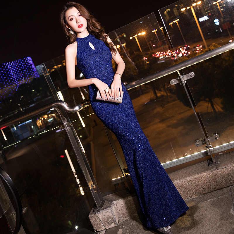 فساتين سهرة باللون الأزرق الداكن من Yiiya K103 فساتين سهرة أنيقة بدون أكمام بحورية البحر طويلة بسحاب Vestidos De Fiesta 2020
