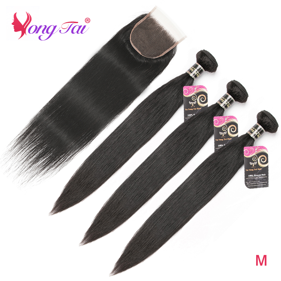 Yuyongtai Malaysia Straight Human Hair 3 Bundles With Closure Natural Color 4*4 Lace Closure Medium Ratio Non-Remy Hair Weaves