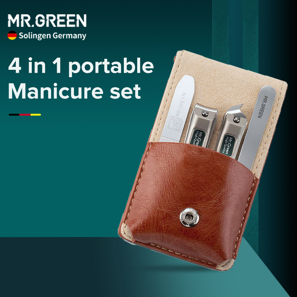 MR.GREEN Nail Clippers Nipper Nail Tools Set Manicure Pedicure Kit Stainless Steel Travel Case Gift Nail File Eyebrow Tweezers