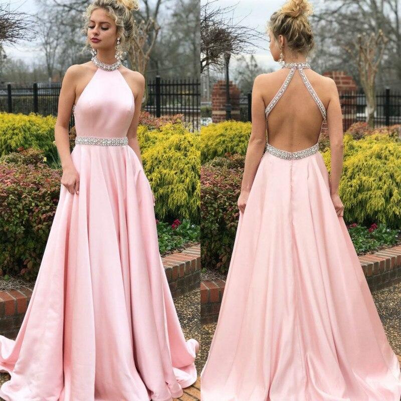 1PCS  New Popular Sleeveless Halter Back Dress Long Skirt Prom Long Elegant Dresses