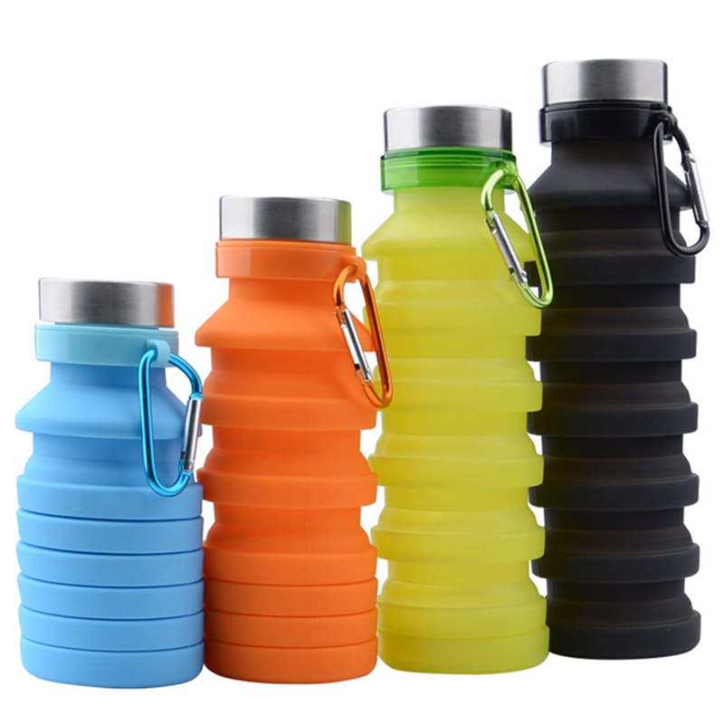NEW Retractable Sport Kettle Silicone Folding Outdoor Hiking Water Bottle