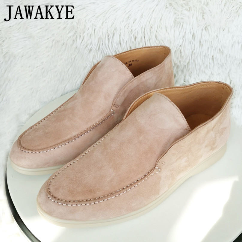 JAWAKYE High Top Women Loafers Flat Penny Shoes High Quality Nude Suede Runway Casual Shoes Woman Slip On Loafer Open Walk Shoes