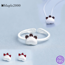 цена Earrings 925 sterling silver ring necklace for women Earrings  set animal necklace Cat claw small ring Exquisite gift jewelry онлайн в 2017 году