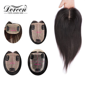 Image 5 - Doreen 8 inch Silk Base Hair Topper Virgin Human Hair Toupee  for Women Natural Color  Women Toupee with 3 clips