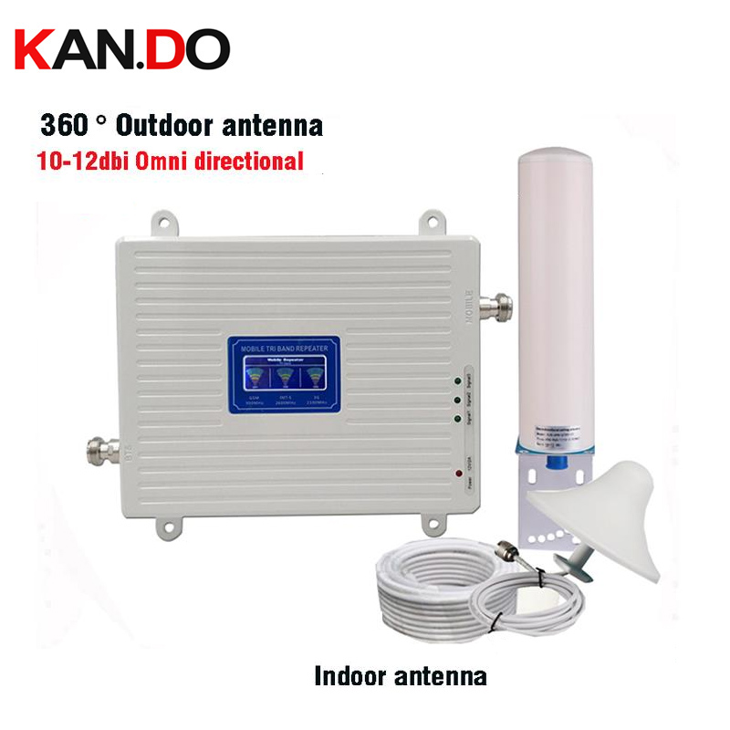 2g 3g 4g Tri Band Signal Repeater Gsm 900 2100 2600 GSM WCDMA UMTS LTE Cellular Signal Booster 900/2100/2600mhz Amplifier