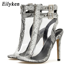 EilyKen Autumn Women PVC Transparent Serpentin Peep Toe Thin High Heel Sexy Sandal Shoes Boots Fashion Zip Buckle Strap Pumps(China)