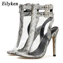 EilyKen Autumn Women PVC Transparent Serpentin Peep Toe Thin High Heel Sexy Sandal