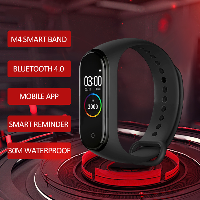 <font><b>M4</b></font> <font><b>Smart</b></font> <font><b>Band</b></font> Heart Rate Blood Pressure Monitor Colorful Screen <font><b>Smart</b></font> Sport Bracelet Wristband <font><b>M4</b></font> <font><b>Band</b></font> Health pulsera inteligent image
