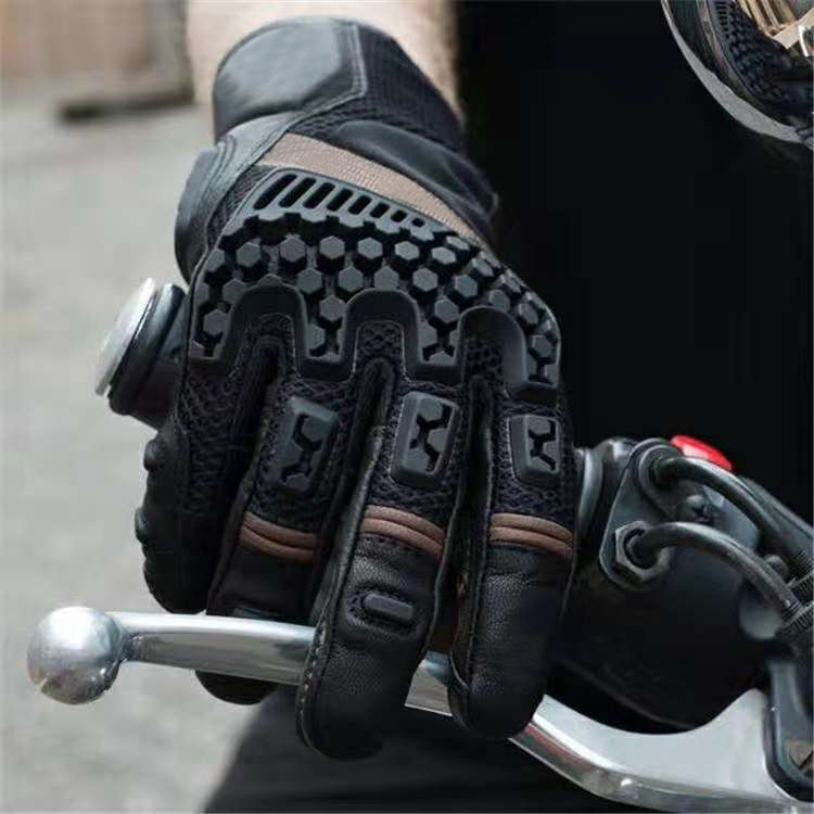 Free Shipping 2019 Black Breathable Glove Motorcycle Cycling Riding Racing Leather Glove 4 Colors