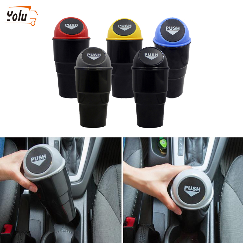 YOLU Car Trash Garbage Can Auto Trash Dust Case Holder Bin Box Car-styling Yellow Red Blue Black Gray