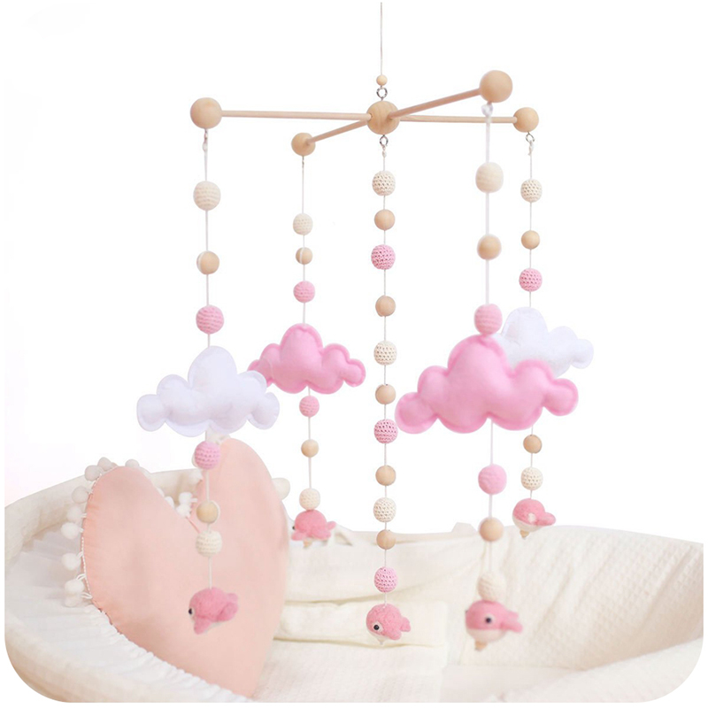 Baby Wooden Rattle Bed Bell Mobile Activity Play Gym Baby Toys For 0-12 Months Cart Accessories Crochet Elephant Bed Rattles | Happy Baby Mama