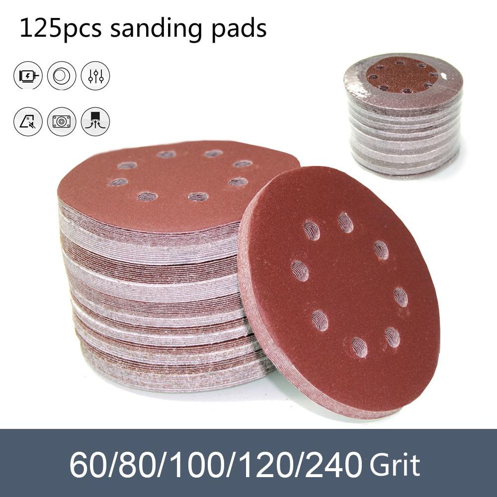 125pcs 5 Inch 125mm Round Sandpaper Eight Hole Disk Sand Pads Set  60-240Grit Sander Disc Abrasives Polish Machine Disc Polish