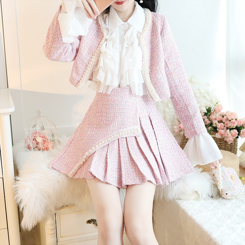 Sweet Pearls O-Neck Long Sleeve Womens Short Jackets High Waist Pleated Hot Skirts Ladies Qualities Slim Fit Two Piece Outfits