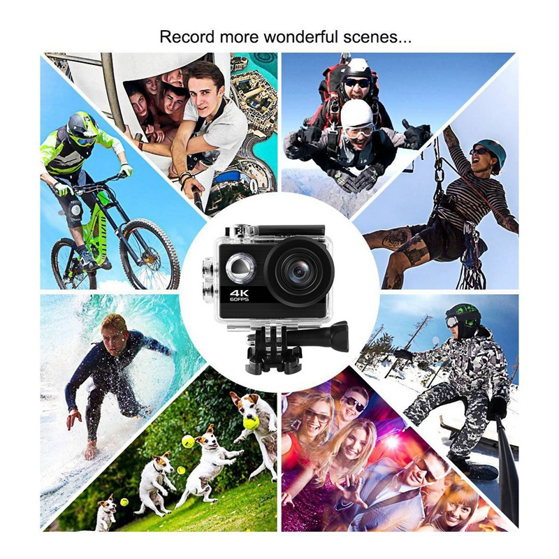 4K 60Fps EIS Action Camera with 2.0 inch IPS Sn 24MP Anti-Shake Waterproof Sport Camera with Wireless Remote 170 Wide Angel