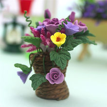1:12 Miniature Model Flower Basket Pretend Play Toy For Kawaii Doll House Garden Accessory Real Like Design 30SE23(China)