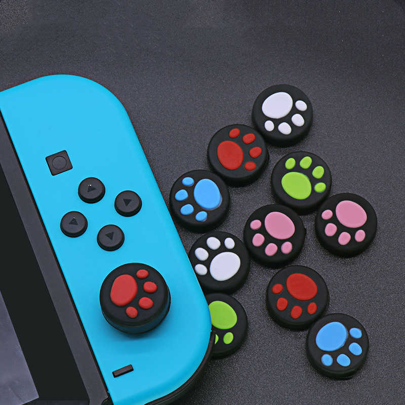 1 Pasang Kucing Karet Silikon Permainan Handle Joystick Thumb Stick Grip Cap Controller Menangani Topi untuk Nintend Switch untuk PS3 PS4