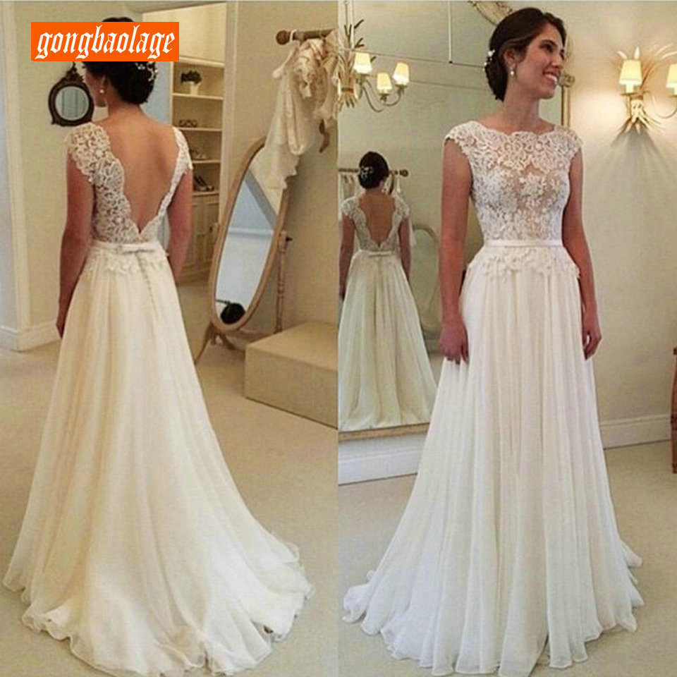 Elegant Ivory Wedding Gowns Long 2019 Wedding Dresses Scoop Chiffon Lace A-Line Backless Sexy Bridal Dress Chic Vestido De Noiva