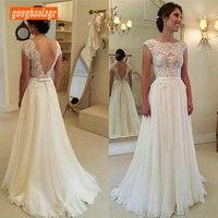 Elegant Ivory Wedding Gowns Long 2019 Wedding Dresses Scoop Chiffon Lace A Line Backless Sexy Bridal Dress Chic vestido de noiva