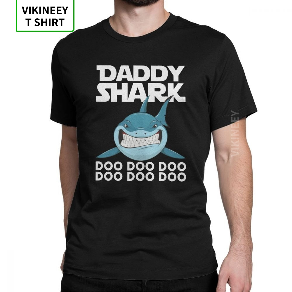 Daddy Shark Doo Doo Fathers Day Vintage T Shirt Men Gifts For Dad Short Sleeve Tops Summer Tees 100% Cotton O-Neck T-Shirt