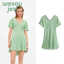 Ladies Chic Elegant Green Beach Dress Short Sleeve Casual Printing Summer Sexy V Neck casual dress printing women