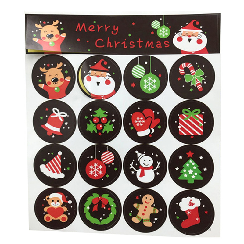 16 Pcs Merry Christmas Stickers Cute Santa Claus ElK Stickers Decorative Round Label Sealing Stickers Gifts Stationery Stickers