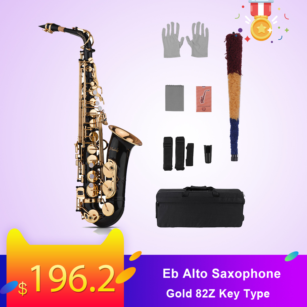 Muslady Eb Alto Saxophone Sax Brass Lacquered Gold 82Z Key Type Woodwind Instrument Padded Carry Case Gloves