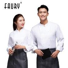 Masculino feminino manga longa chef cozinheiro casaco unisex cozinha catering serviço de alimentos cozinha trabalho roupas pastelaria restaurante garçom uniforme