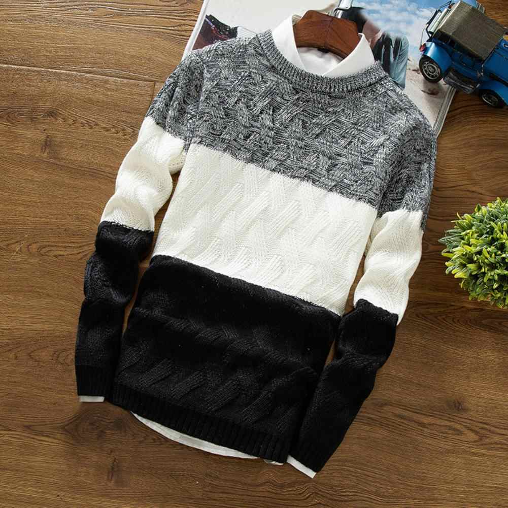 Sweater Cashmere Sweater Thick Warm Pullovers Men Autumn O Neck Long Sleeve Color Block Patchwork Slim Knitted Pullover Sweater