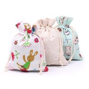 Image 3 - 10 ピース/ロット 10x1 2/10 × 14 センチメートルランダムミックスデザインコットン巾着袋アロマポーチベルベットのポーチバッグナチュラル麻布ヴィンテージバッグ