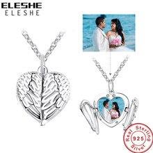 ELESHE 925 en argent Sterling ange aile collier pendentif pour les femmes longue chaîne colliers personnalisé Photo coeur bijoux