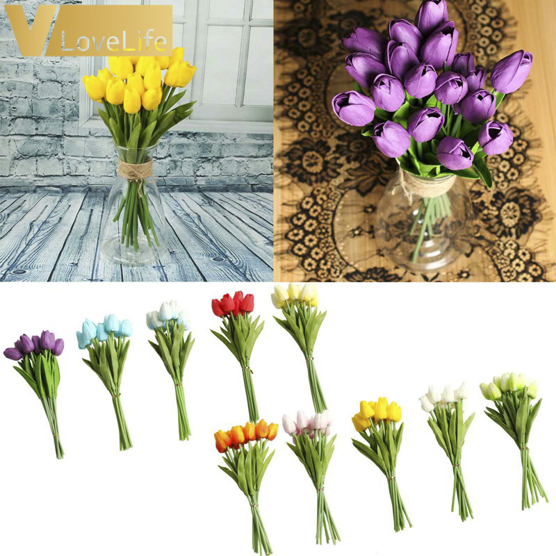 10pcs Artificial Tulip Flowers Mini tulip Flowers Real Wedding Flowers For Wedding Banquet Bridal Bouquet Home Garen Decoration 6