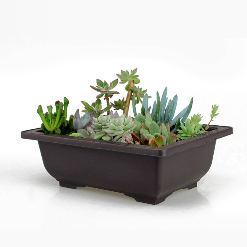 High-quality Garden Pots Flower Planters Pot Imitation  Balcony Square Pots Flower Bonsai Bowl Planter Rectangle Bonsai New