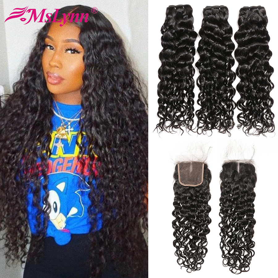 Water Wave Bundles With Closure Peruvian Hair Bundles With Closure Human Hair Bundles With Closure Remy Mslynn Hair Bundles