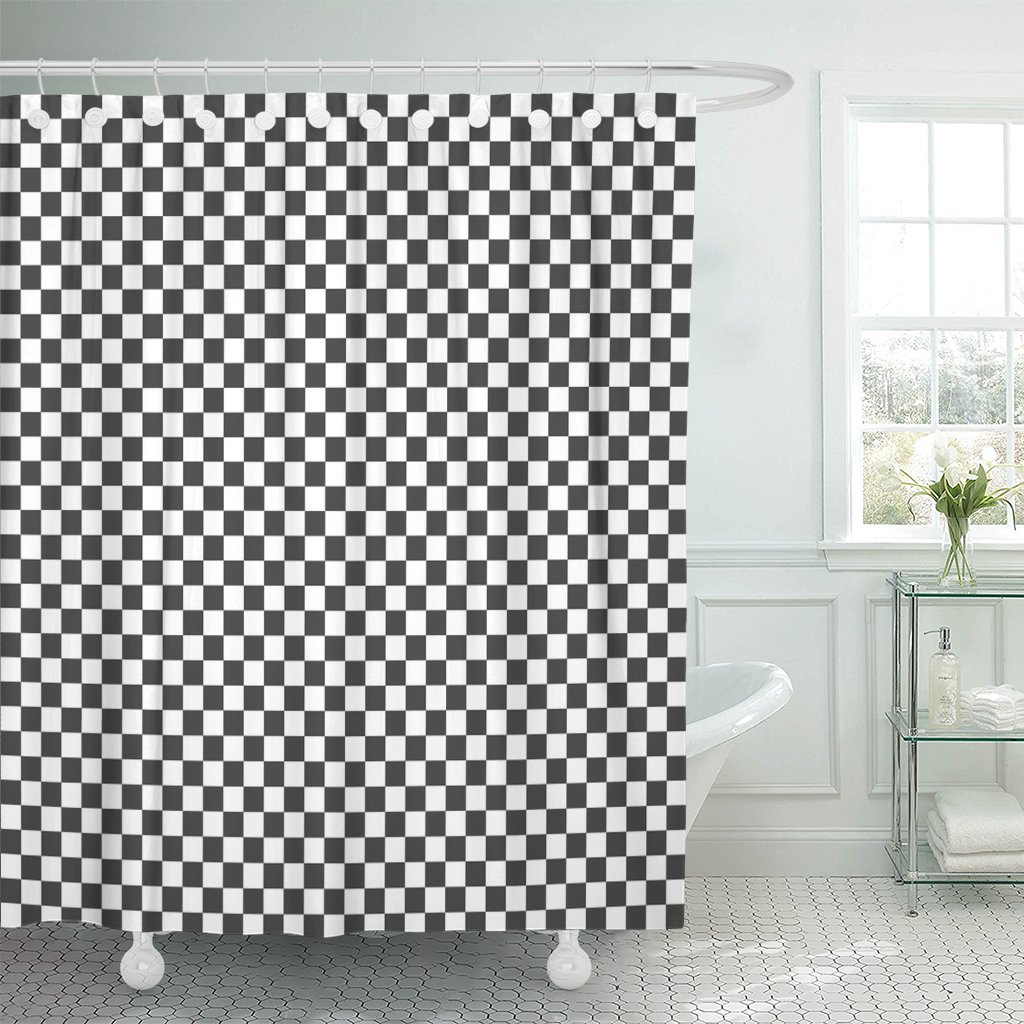 Vintage Black and White Checked Plaid Pattern Shower Curtain Bathroom Decor 72/""