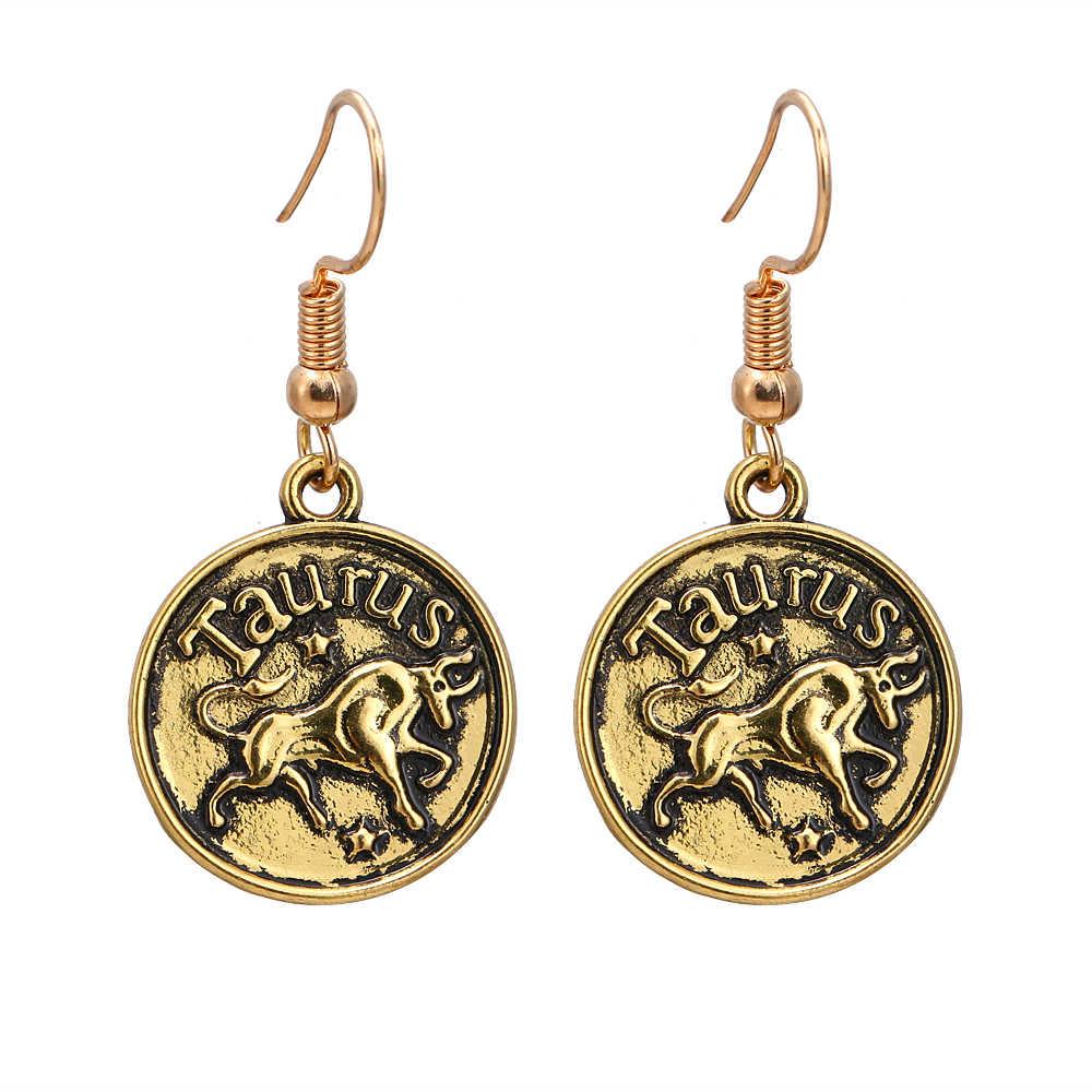 Constelação de escorpião 12 1 par Do ouro Do Vintage Brinco Gêmeos Câncer Encantos Oscila Brincos Para As Mulheres Da Moda Jóias melhores presentes