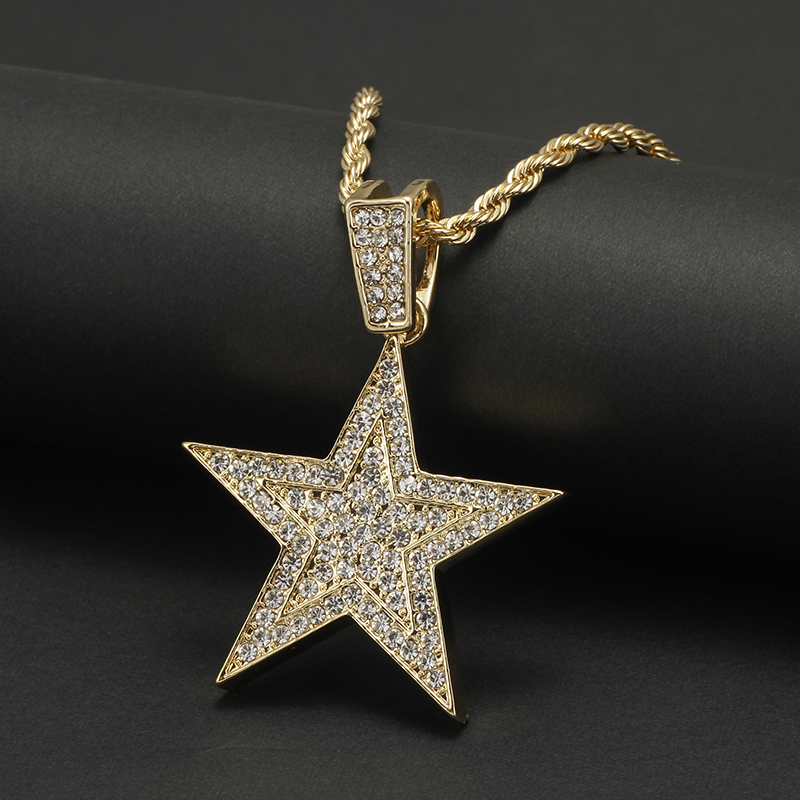 Men Hip hop Iced Out Bling five-pointed star Pendant Necklaces Pave Setting Zircon Fashion Charm Gold Color Necklace